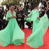 apple flower festival - Mint Green Cannes Festival Lupita Nyongo Celebrity Red Carpet Dresses Short Sleeve Hand Made Flowers Deep V Neck Evening Gowns