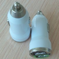 Wholesale Big Discount Dual USB Car Charger for iPhone iPad Samsung Car Cigarette Lighter White