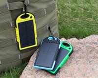 venda por atacado solar cell-Dual USB Porto Solar carregadores Power Bank 5000mAh impermeável portátil celular carregador de bateria de bateria externa Solar 1pc carregador solar