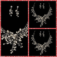 adorned events - Beautiful Bridal Necklace And Earring Sets Of Accessories For Bridal Wedding Party Events Beaded Crystal Pearls Adorned Factory Cheap Online