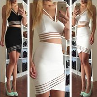 Wholesale Sexy Club women Dress Women lace inset bodycon bandage dress women Sleeve Pencil Party Midi Dresses