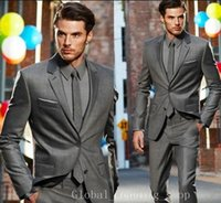 best fashion label - New Arrival Custom Made Dark Gray Classic Groom Tuxedos Best Man Suit Wedding Fashion Jacket Pants One Button Notched Label