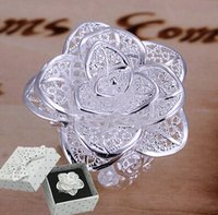 Wholesale Hot sell Jewelry rose Rings Silver plated Women s ring Big flower ring silver plated ring three layers of flowers