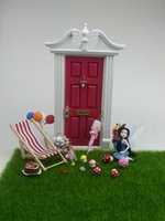 fairy furniture - Dollhouse fairy garden miniature dolls house furniture ears fairy doors with crystal golden handle hot sale