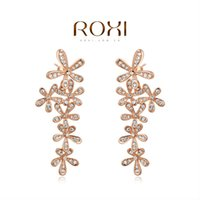 Wholesale FG ROXI Rose Gold Plated Statement Flower Jacket Earrings Large Zircon Gift Girlfriend Pure Handmade Fashionable