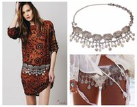 Wholesale New Arrival Gypsy Silver Metal Wide Hippie Boho Flower Turkish Coin Tassel Statement Bohemian Belt Dance Body Chain Jewelry