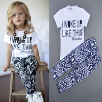 Wholesale 2015 Baby Girls Zebra stripe White T Shirt Pants Two pieces Outfits Set Y I Woke Up Like This Letter Printing Girls Clothing Sets Retail
