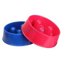 ceramic dog bowl - Hot Sale Pet Slow Feed Bowl Feeder Dish Dog Cat Bowl Water Bowl Dark Red Dark Blue