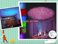 Wholesale NEW Amazing Romantic Audio Aurora Master Colorful LED Light Ocean Wave Projector Speaker Lamp for PC Laptop MP3 MP4 iPod order lt no