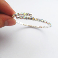 Wholesale Silver Plated Rainbow Crystal Sparkling One Row Crystals Wedding Bangle For Bridal Cheap Bracelet Women Bracelet