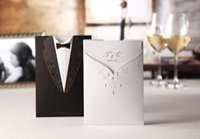 Wholesale 2015 Personalized wedding invitations cards Tuxedo Dress Bride Groom Wedding Invitations Cards Customizing and Printing invitations set