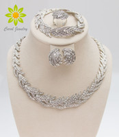 Wholesale Leaves Shape Silver Plated Clear Crystal Jewelry Set New Fashion Wedding Bridal African Costume Jewelry Sets