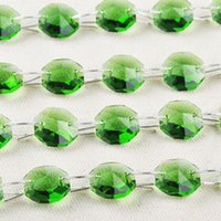Wholesale 20M mm Green Octagon Crystal Beads connected with mm rings Wedding Cake Decorative Crystal Garland Strand