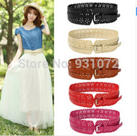Wholesale 2014 New Fashion New Womens Lady PU Leather Hollow Flower cm Width Wide Waist Belt Waistband Colors Hot Selling