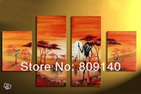 aboriginal paintings - Landscape oil painting canvas African Aboriginal Men Portrait Sunrise artwork quality handmade home office hotel wall art decor free ship