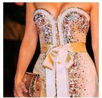 chocolate diamonds - Shakira Deslumbra Sweetheart Colourful Diamond Sequins Bodycon Sheath Nude Mini Length Short Cute Sexy Cocktail Dresses Celebrity