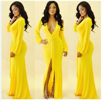 amazon sizes - Amazon sold long sleeve dance party dress deep V split yellow dress fashion Europe and sexy club evening dress