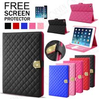 Wholesale Luxury Crystal Diamond Quilted Leather Stand Magnetic Cover Case For Apple iPad
