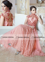 indian wedding dresses - 2015 New Lace and Chiffon Pakistani Dresses High Neck Capped Wedding Dresses Appliques Muslim Arabic Sheer Neck Indian Islamic Formal Party