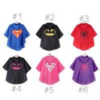 Wholesale New Kids Rain Coat Children Raincoat Rainwear Rainsuit Waterproof Raincoats Cosplay Batman Spider Hooded Poncho Slicker