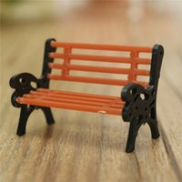 Wholesale Miniature Wood Park Bench Model Garden Landscape Ornament Chair Outdoor European Style Decoration DIY Dollhouse Furniture