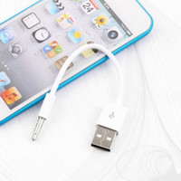 Wholesale 3 mm Jack Plug to USB charger Data Cable M Audio Headphone Adapter Cord for Apple for ipod for shuffle st nd Gen