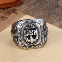 anchor jewelry ring - 2016 FASHION vintage biker anchor stainless steel ring new arrival silver style cheap factory jewelry for