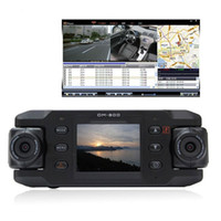 Wholesale Dual Lens Car dvr Camera Two Lens Vehicle DVR Dash Recorder GPS G sensor