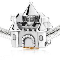 al por mayor pulsera encanta la venta-Venta al por mayor caliente Crown Castle Charm 925 joyería de plata esterlina Europea grano del encanto cupieron la pulsera Cadena Serpiente Mujer