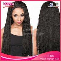 american sheds - braided lace front wigs Box braide kanekalon no shedding no tangle synthetic lace front wig for african american women