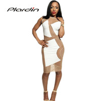 Cheap New Women Sexy Celebrity Mesh Insert Panel Long Sleeve Dress Bandage Midi Dress Night Club Pencil Dress 4211