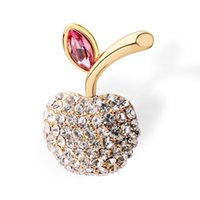 apple brooch pin - brooches full diamond crystal apple brooch pins Apple suit collar Valentine s Day gift to send his girlfriend