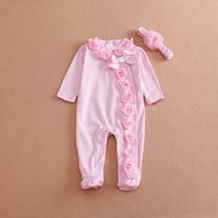 Wholesale 2016 Spring baby girl romper long sleeved cotton pink color rose flower newborn jumpsuit toddler one piece romper with flower headbands T91
