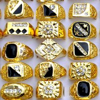 Wholesale Hot Sale Fashion Jewelry Czech Rhinestones Enamel Gold Plated Mens Rings Female Finger Rings