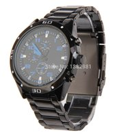 ao calendar - Fashion Waterproof Calendar Analog Black Steel Band and Blue Number Watch AO P