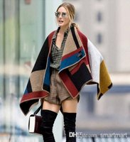 wool blanket - 2014 New Fashion Women Brand Design Blanket Poncho Striped Patchwrok Wool Plain Cape For Ladies Coat