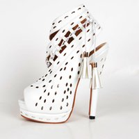 Wholesale White Hollow Out Sandals For Women Faux Leather Heel Sandal Covered Heel Ankle Length Boots Sandal Open Toe Peep High Heel Summer Shoes