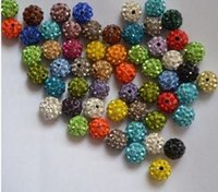 Wholesale 12mm Shamballa Disco Balls Clay Micro Pave Crystal Rhinestones Mix Color A quality Through Drilled Jewelry Making Beads