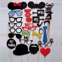 al por mayor los labios de los apoyos-Funny Photo Booth Atrezzo con labios bigotes gafas de moda lindo para Decoraciones del partido Navidad partido brithday fiesta de la boda