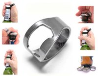 Wholesale New Finger Ring Bottle Opener Stainless Steel Handy Bar Tool Waiter Server Beer
