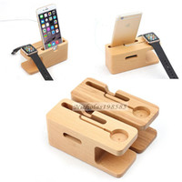 Wholesale 2015 Environmental Wood Bamboo Bracket Charger Charging Dock Station Stand Holder for Apple Watch iwatch mm mm iPhone Plus s