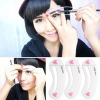 Wholesale 3 Per Set Magic Eye Brow Class Drawing Guide Eyebrow Stencil Card Template Assistant