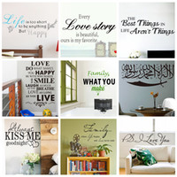 vinyl sticker - Mix Order Removable Wall Quotes Stickers Decorative Vinyl Quotes Wall Decal and Saying Home Decoration Wall Art Family Love Quote Lettering