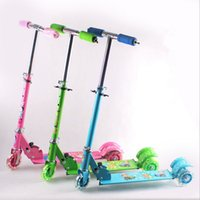 Wholesale Blue Green Pink Children Three flash wheel Kick scooters