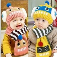 Wholesale Kids Knitted hat scarf cartoon scarf hat warm wool cap scarf Cute Kids Cap scarf Winter autumn accessories set