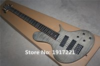 Wholesale The Customized String Grey Electric Bass with Flame Maple Veneer Initiative Pickups and Can be Changed