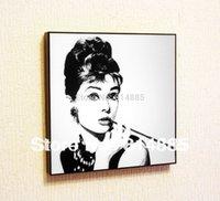 audrey hepburn pop art canvas - Audrey Hepburn Movie Star Pop Art wall decor Handmade Canvas Painting Wall Art Gift Oil Painting With Framed Gift PA007