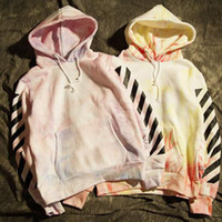 tie dye hoodies - 2016 Off White Virgil Abloh kanye west men flannel hoodie pyrex hoody sweatshirt tie dye stripe Moleton Masculino coat