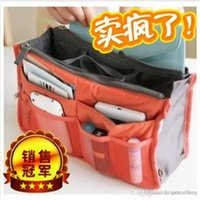 Wholesale Newest organizer bags storage bags shoppoing bags travel bags Insert Multi function Handbag Makeup Pocket Organizer bags and Purse free ship