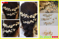 Wholesale Bridal Jewelry Sets Pearl Wedding Bridal Accessories Gold Leaves Headdress Earings Barock Retro In Sock Party Hairpin Unique Gife For Girls